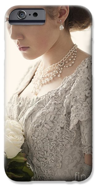 Sad Victorian Woman With Bouquet Of Roses IPhone Case by Lee Avison