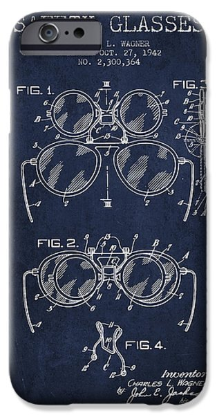 Safety Glasses Patent From 1942 - Navy Blue IPhone Case by Aged Pixel