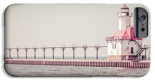 Saint Joseph Michigan Lighthouse Panorama Picture  IPhone Case by Paul Velgos