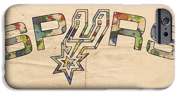 San Antonio Spurs Retro Poster IPhone Case by Florian Rodarte