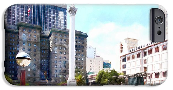 San Francisco Union Square 5d17933wcstyle IPhone Case by Wingsdomain Art and Photography
