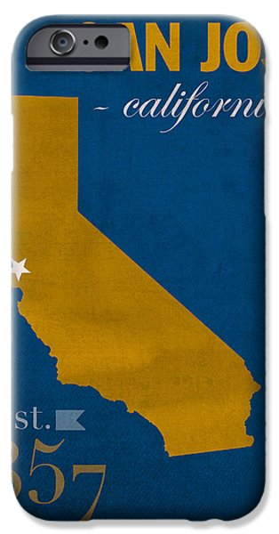 San Jose State University California Spartans College Town State Map Poster Series No 094 IPhone Case by Design Turnpike