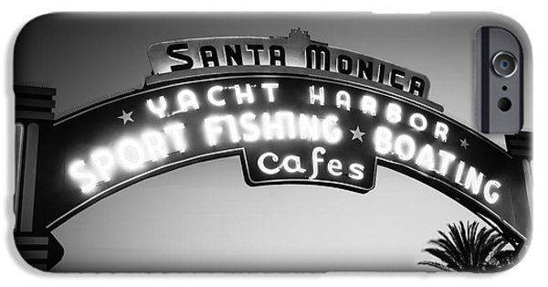 Santa Monica Pier Sign In Black And White IPhone 6s Case by Paul Velgos