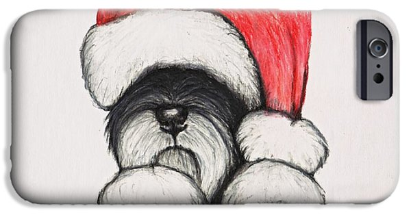 Santa Schnauzer IPhone Case by Katerina A Cechova