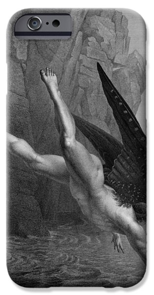 Satan Plunges Into The River Styx IPhone Case by Richard Edmond Flatters