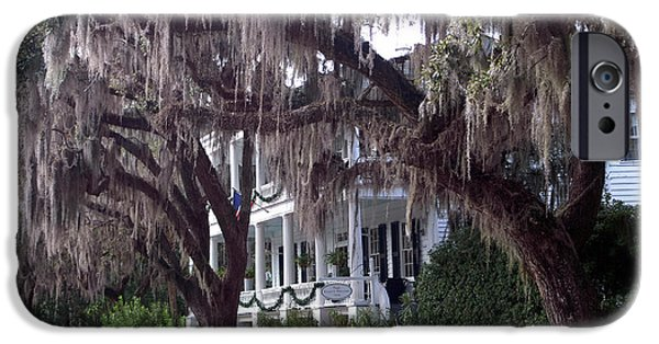 Savannah Victorian Mansion Hanging Moss Trees IPhone Case by Kathy Fornal