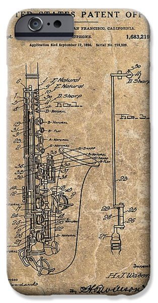 Saxophone Patent Design Illustration IPhone 6s Case by Dan Sproul