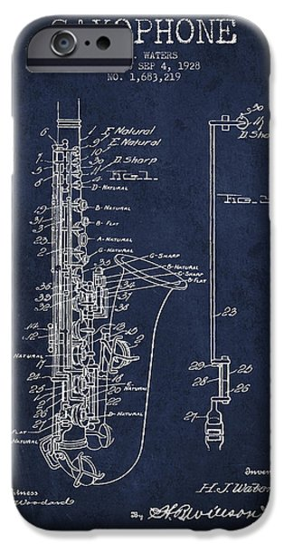Saxophone Patent Drawing From 1928 IPhone 6s Case by Aged Pixel