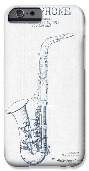 Saxophone Patent Drawing From 1937 - Blue Ink IPhone 6s Case by Aged Pixel
