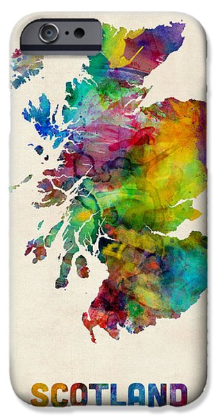 Scotland Watercolor Map IPhone Case by Michael Tompsett