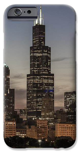 Sears Willis Tower In Chicago And Sunset IPhone Case by John McGraw