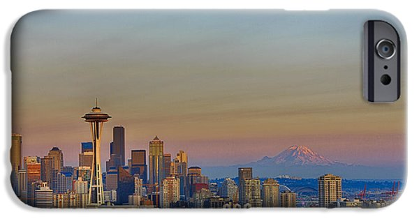 Seattle Skyline At Sunset Hdr IPhone Case by Scott Campbell