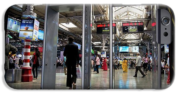 Security Scanners At Mumbai Station IPhone Case by Mark Williamson