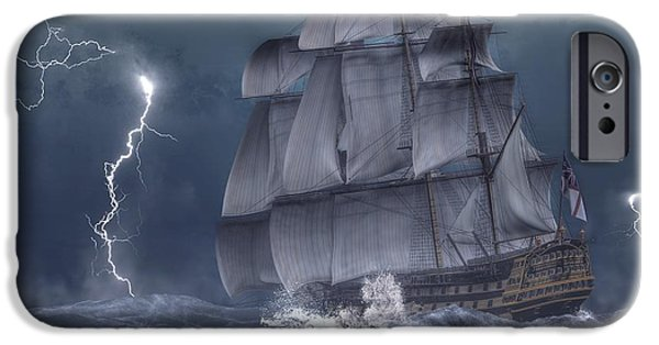 Ship In A Storm IPhone Case by Daniel Eskridge