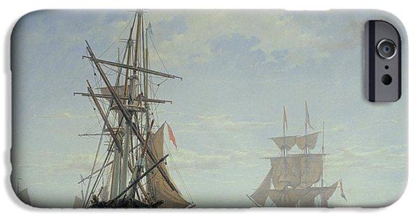 Ships In A Dutch Estuary IPhone Case by WA Van Deventer
