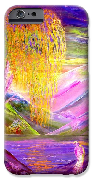 Silent Waters, Silver Birch And Egret IPhone Case by Jane Small
