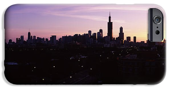 Silhouette Of Buildings At Sunrise IPhone Case by Panoramic Images