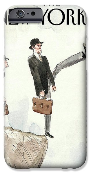 Silly Walk Off A Cliff IPhone Case by Barry Blitt