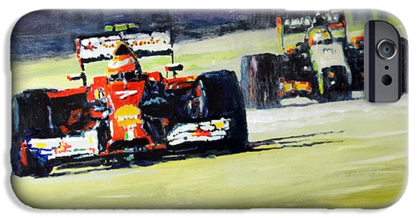 2014 Singapore Gp Raikkonen Scuderia Ferrari F14 T Perez Sahara Force India F1  IPhone Case by Yuriy Shevchuk