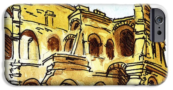 Sketching Italy Rome Colosseum Ruins IPhone Case by Irina Sztukowski