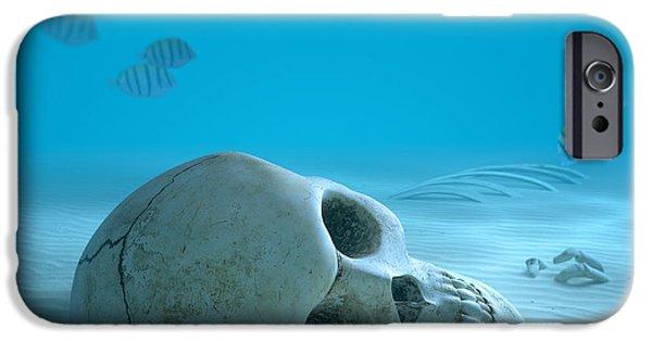 Skull On Sandy Ocean Bottom IPhone Case by Johan Swanepoel