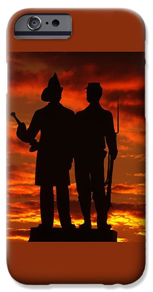 Sky Fire - 73rd Ny Infantry Fourth Excelsior Second Fire Zouaves-a1 Sunrise Autumn Gettysburg IPhone Case by Michael Mazaika