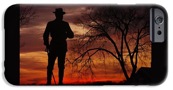 Sky Fire - Brigadier General John Buford - Commanding First Division Cavalry Corps Sunset Gettysburg IPhone Case by Michael Mazaika