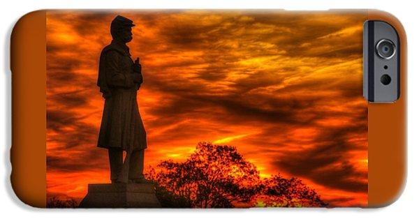Sky Fire - West Virginia At Gettysburg - 7th Wv Volunteer Infantry Vigilance On East Cemetery Hill IPhone Case by Michael Mazaika