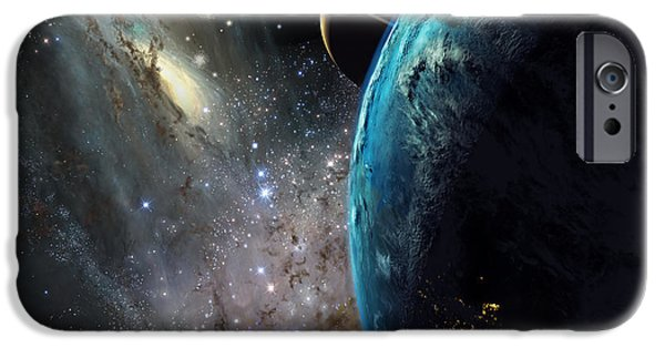 Galaxies Collide Over Terraformed Titan IPhone Case by Don Dixon