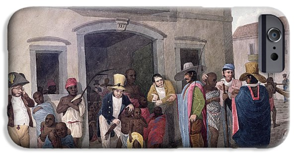 Slaves In Brazil Hand-coloured Engraving IPhone Case by English School