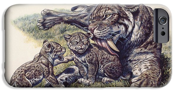 Smilodon Sabertooth Mother And Her Cubs IPhone Case by Mark Hallett