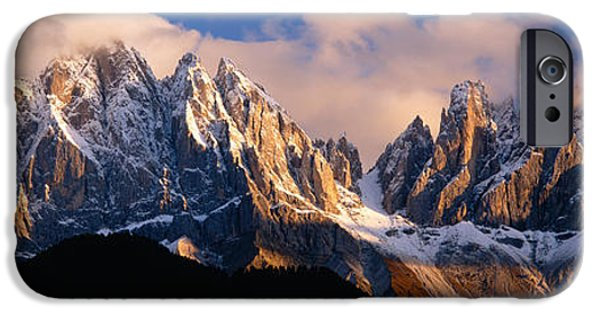 Snowcapped Mountain Peaks, Dolomites IPhone Case by Panoramic Images