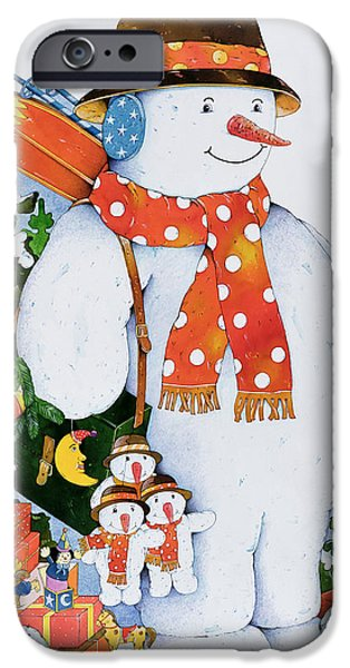 Snowman With Skis IPhone Case by Christian Kaempf