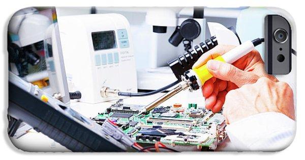 Soldering Equipment And Circuit Board IPhone Case by Wladimir Bulgar