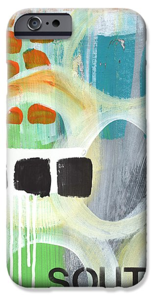 South- Abstract Expressionist Art IPhone Case by Linda Woods