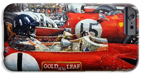 Spain Gp 1969  Lotus 49 Hill  Ferrari 312 Amon  Lotus 49b Rindt  IPhone Case by Yuriy Shevchuk