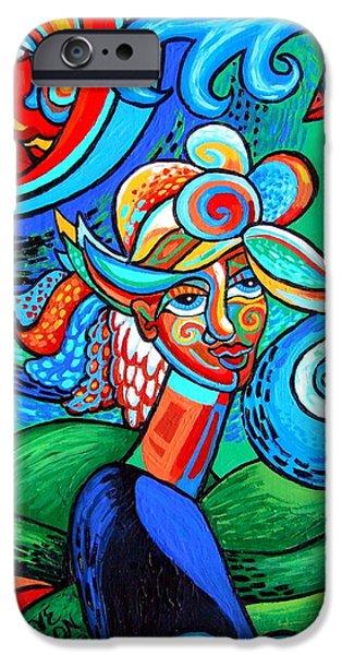Spiral Bird Lady IPhone Case by Genevieve Esson