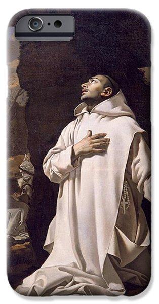 St Bruno Praying In Desert IPhone Case by Nicolas Mignard