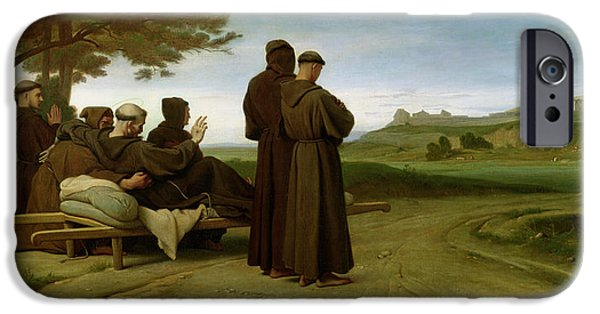 Saint Francis Of Assisi, While Being Carried To His Final Resting Place At Saint-marie-des-anges IPhone Case by Francois Leon Benouville