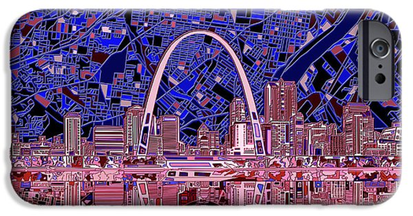 St Louis Skyline Abstract 6 IPhone Case by Bekim Art