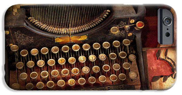 Steampunk - Just An Ordinary Typewriter  IPhone Case by Mike Savad