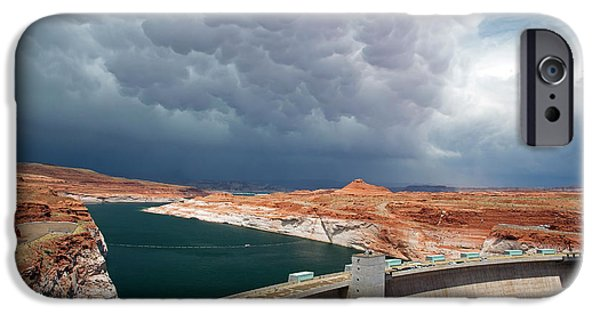 Storm Clouds Over Glen Canyon Dam IPhone Case by Jim West