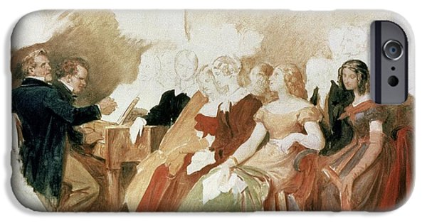 Study For An Evening At Baron Von Spauns Schubert At The Piano Among His Friends IPhone Case by Moritz Ludwig von Schwind