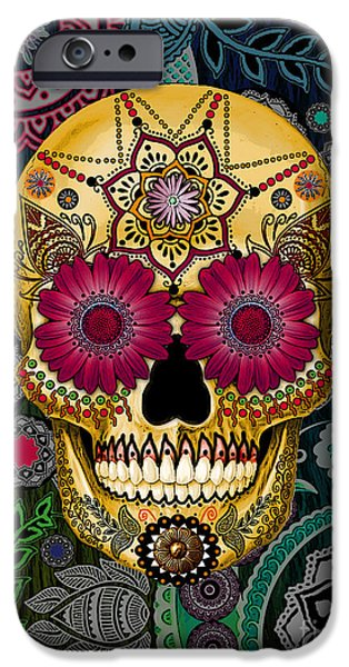 Sugar Skull Paisley Garden - Copyrighted IPhone Case by Christopher Beikmann
