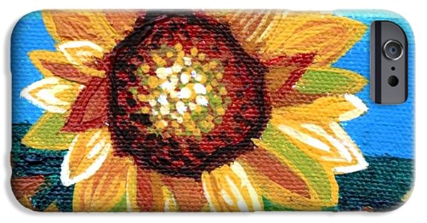 Sunflowers And Blue Sky IPhone Case by Genevieve Esson