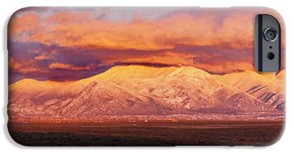 Sunset Over Mountain Range, Sangre De IPhone Case by Panoramic Images