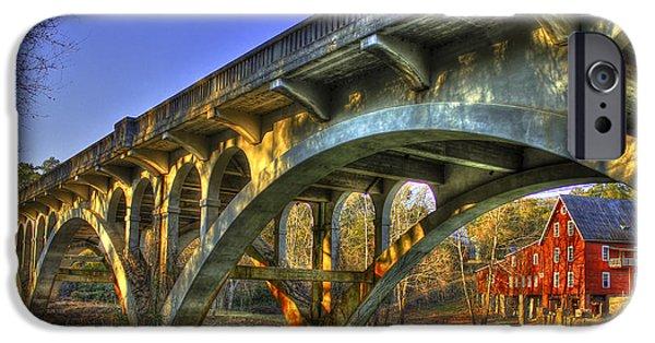 Sunset Reflections Millmore Mill Ga Hwy 16 Bridge Hancock County IPhone Case by Reid Callaway