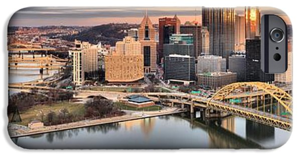 Sunset Reflections Of Pittsburgh IPhone Case by Adam Jewell