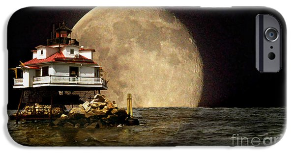 Super Moon Lighthouse IPhone Case by Skip Willits
