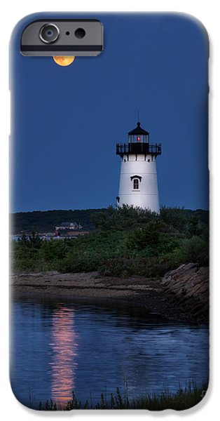 Super Moon Over Edgartown Lighthouse IPhone Case by Mark Miller